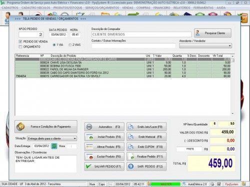 Programa para AutoElétrica + Ordem de Serviço Vendas e Financeiro v2.0 6687