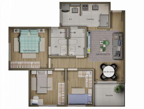 Apartamentos de 58 m2 Residencial Mariana Maria no 13º Andar Salto Sp 265430