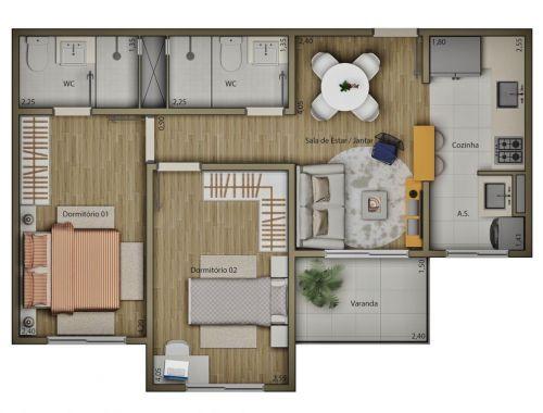 Apartamentos de 58 m2 Residencial Mariana Maria no 13º Andar Salto Sp 265431