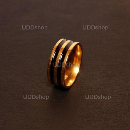 Anel Aliança de Compromisso Dourado com 2 Listras Pretas - Material Aço + Frete Grátis 339544