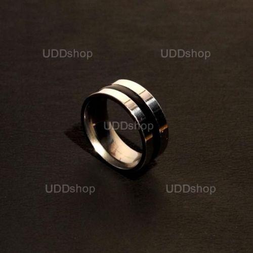 Anel Aliança de Compromisso Prata com 1 Listra Preta - Material Aço + Frete Grátis 339546