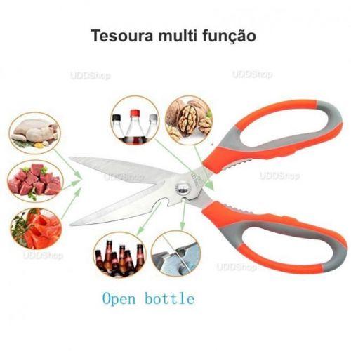 Tesoura Trinchante de Cozinha Clink. Ideal para Cortar ou Limpar Peixes, Aves, Carne, Ervas - Laranja + Frete Grátis 420874