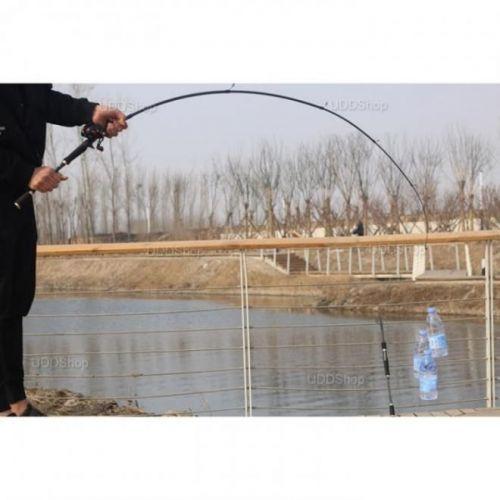 Vara de Pesca Telescópica Fibra de Carbono Ação Média 1.8m 10 - 20Lbs para Carretilha - Preta + Frete Grátis 503917