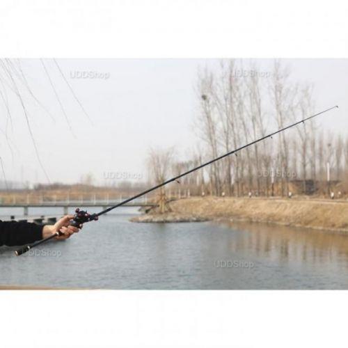 Vara de Pesca Telescópica Fibra de Carbono Ação Média 1.8m 10 - 20Lbs para Carretilha - Preta + Frete Grátis 503918