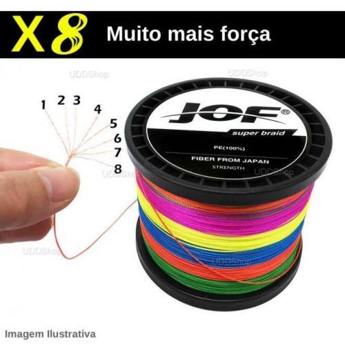 Linha de Pesca Multi-Filamento Jof 300 metros 0,18mm 22Lbs 8 Fios 10Kg cor Preta + Frete Grátis 511073
