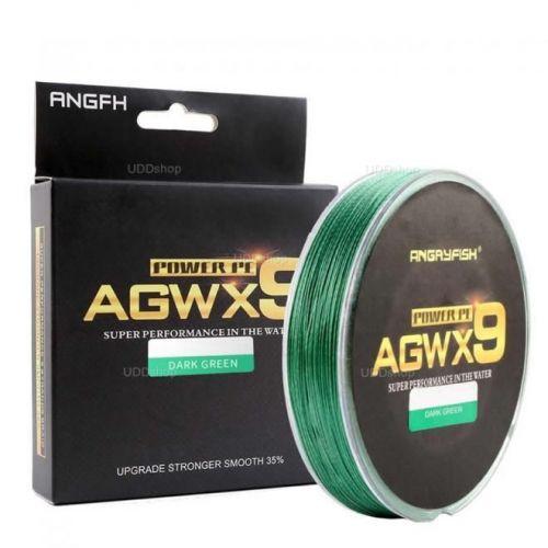 Linha de Pesca Multi-Filamento X9 Diominate ANGRYFISH 300 metros 0,16mm 25Lbs 9 Fios 11Kg cor Verde 527273