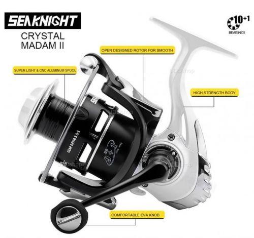 Molinete de Pesca Profissional SeaKnight Crystal Madam II Série 2000 9+1 Rolamentos Drag 7Kg Ratio 5.5:1 Peso 250g 527256
