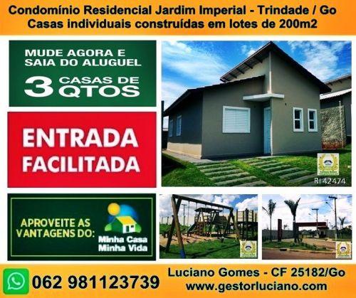 Casas individuais em condomínio 3 Quartos 1 Suíte construídas em lotes de 200 m2 em Trindade  Go 411071