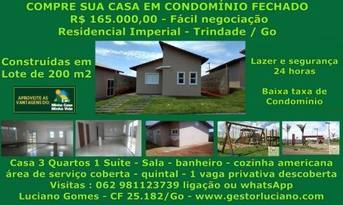 Casas individuais em condomínio 3 Quartos 1 Suíte construídas em lotes de 200 m2 em Trindade  Go 411079