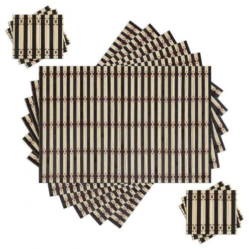 Jogo Americano 12 peças em Bambu 6 Toalhas 6 Porta Copos 414568