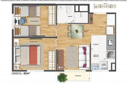Lançamento Voss Guarulhos Mcmv Vila Augusta 2 dorms com terraço 427446