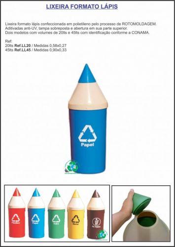 Lixeiras lápis formato educativo-lançamento confira entrega em Porto Alegre 308780