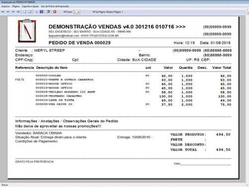 Programa Para Pedido Vendas Estoque e Financeiro V4.0 Plus - Fpqsystem 409241
