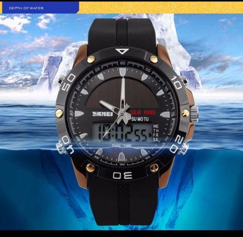 Relógio Solar Dual time Power Military Led Sports Watch 424349