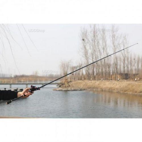 Vara de Pesca Telescópica Fibra de Carbono Ação Média 1.8m 10 - 20Lbs para Molinete - Preta + Frete Grátis 503895
